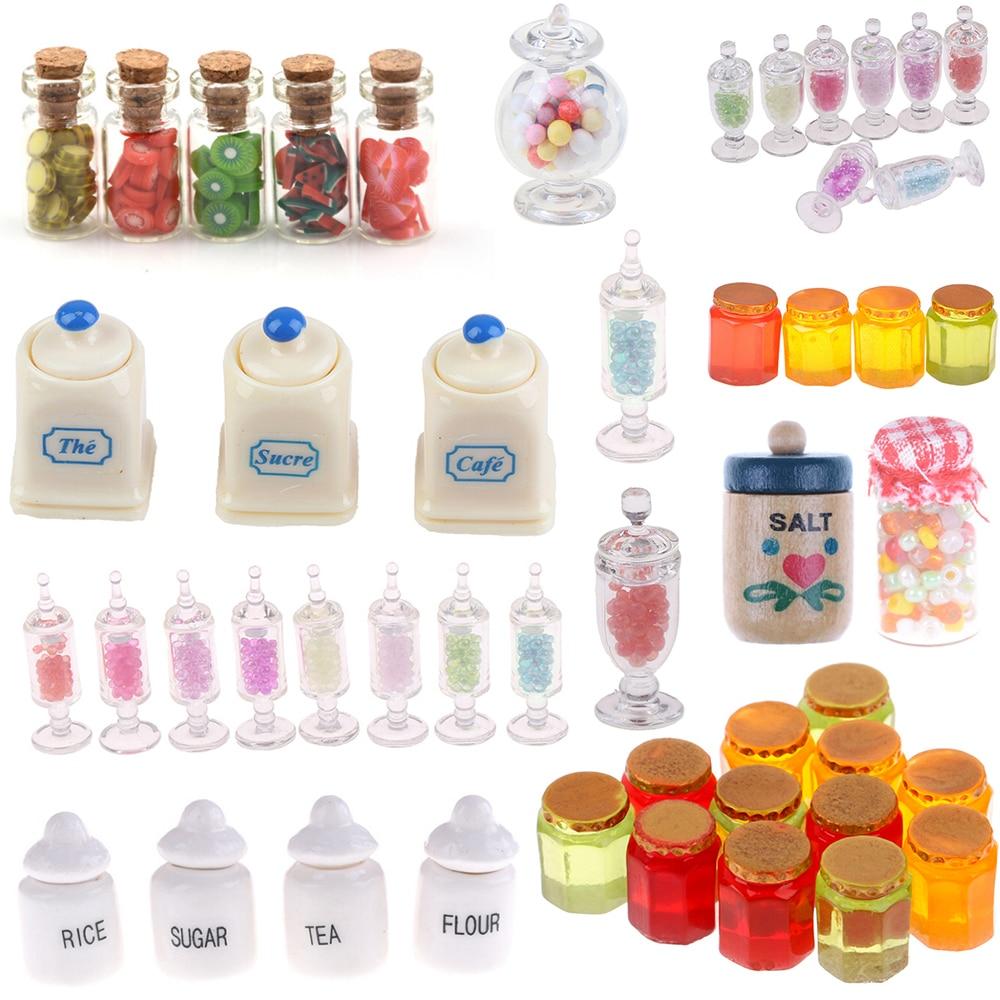1:12 Dollhouse Miniatuer Miniature Furniture Toys Dried Food Play Tea Salt Jar Glass Candy For Dolls Home Office Party Decor Toy
