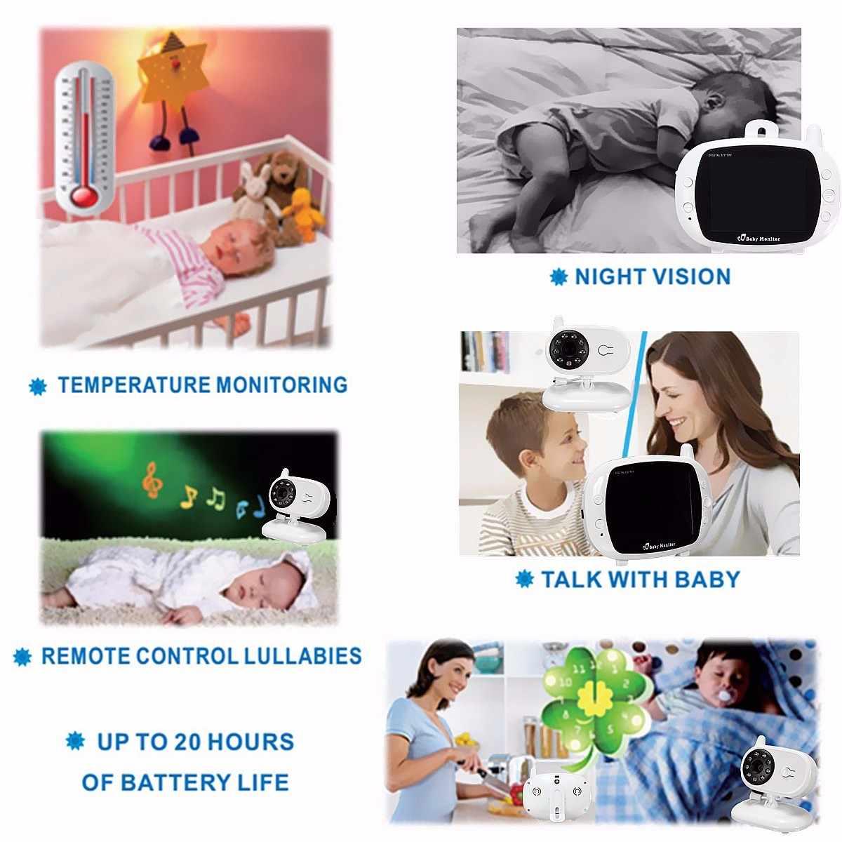 Monitor de vídeo a Color inalámbrico para bebés de 3,5 pulgadas de alta resolución de visión nocturna Monitor de temperatura para bebés Nanny cámara de seguridad de 2 vías