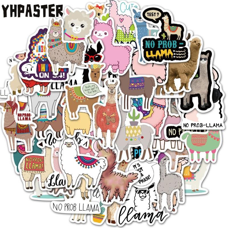 10 Вт, 30 Вт, 50 шт. героями мультфильмов милые лама-альпака животных наклейки для ноутбука Чемодан для телефона на мотоцикл скейтборд, игрушечн...