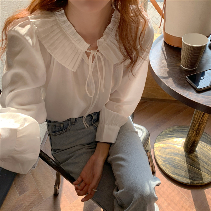 Hccf12a909a444432bfc431965d5baf57F - Spring / Autumn Lace-Up Collar Long Sleeves Loose Solid Blouse