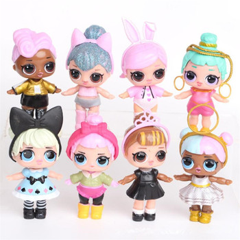 цена на 8 pcs/set hot sell lol surprise kids toys set lol dolls action figure pvc model children birthday gifts