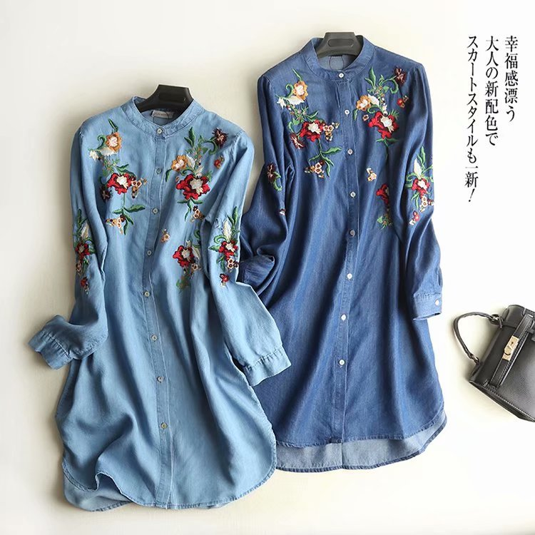 Spring And Autumn Long Sleeve Ethnic-Style Machine Embroidery Long Tencel Denim Cotton Shirt Dress Fn-001
