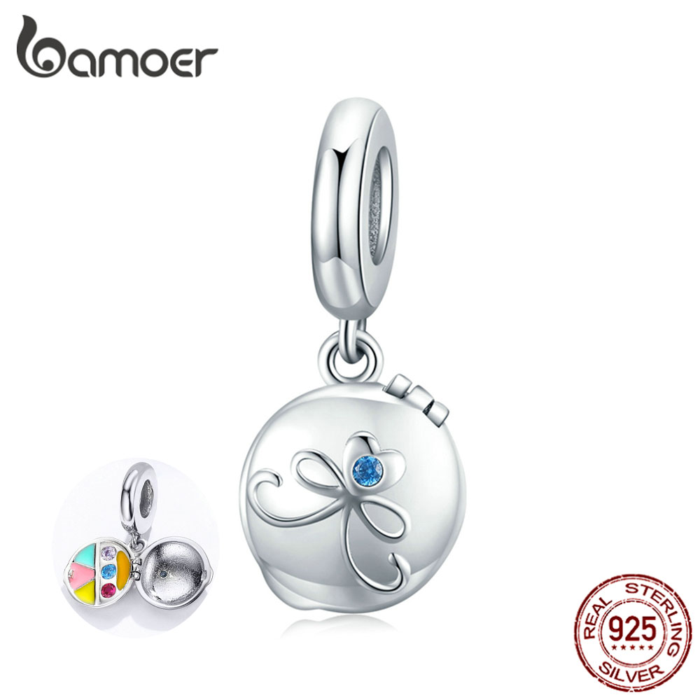 Bamoer Authentic 925 Sterling Silver Make-up Cosmetic Box Pendant For Original Snake Bracelet Or Necklace Women Jewelry BSC181