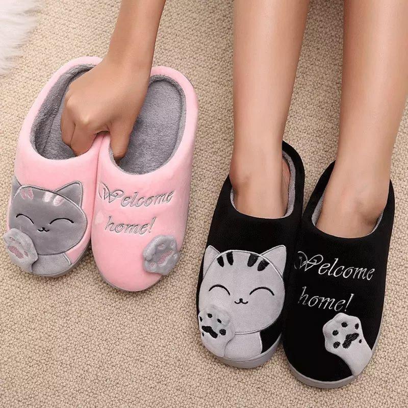 Oeak/женские зимние домашние тапочки; обувь с рисунком кота; Нескользящие мягкие зимние теплые домашние тапочки; домашние тапочки для влюбленных пар