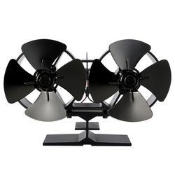 Eficiente ventilador de chimenea negro doble ventilador de estufa con calor komin Log quemador de madera