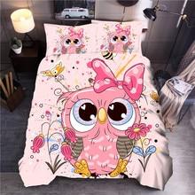 Cartoon Owl Printed Bedding Set Duvet Cover Sets Queen King Quilt Cover Bed Linen