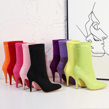 2020 Plus Size 48 Women Fetish Suede Sock Boots 11cm High Heels Stretch Stiletto Heels Red Neon Green Ankle Boots Peach Shoes