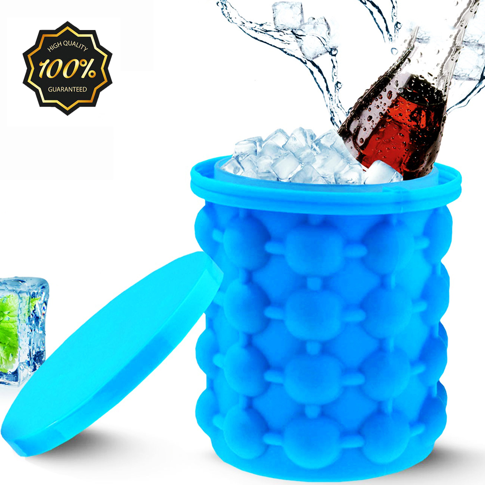 D2 Portable 2 in 1 Large Silicone Ice Bucket Mold with Lid Space Saving Ice Cube Create Maker Tools for Kitchen Party Barware