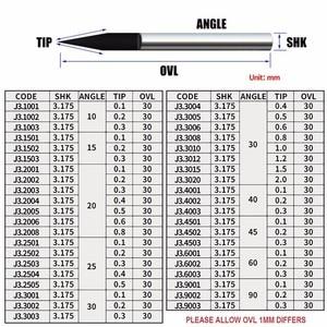 Image 5 - 10Pcs 3.175mm Tungsten Cutter V Shape Carbide PCB Engraving Bits CNC Router Tool Choose Size J3.3001 Acrylic Carving Frezer