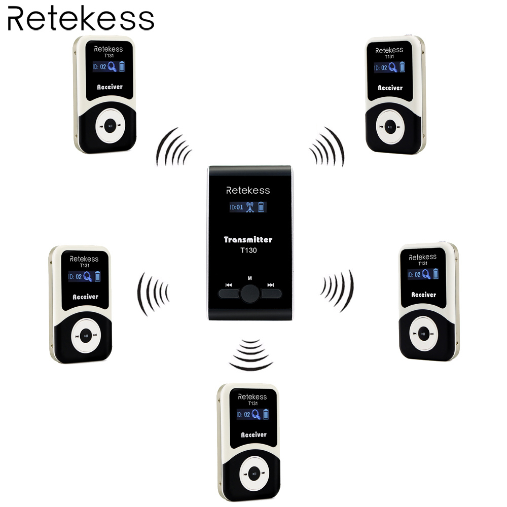 Retekess Wireless Tour Guide System 1 Transmitter 5 Receiver T131 for Tour Guiding Simultaneous Interpretation Meeting