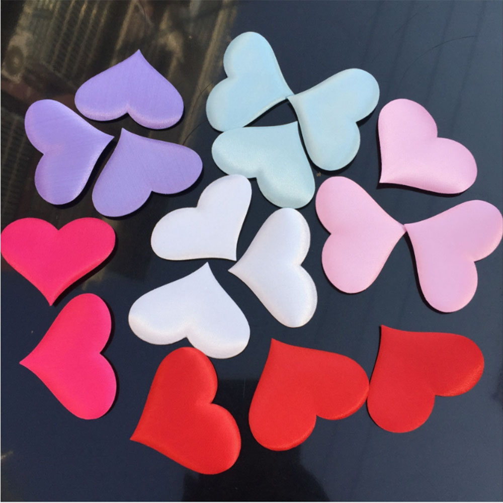 100PCS 35mm Romantic Sponge Satin Fabric Heart Petals Wedding Confetti Table Bed Heart Petals Wedding Valentine Decoration