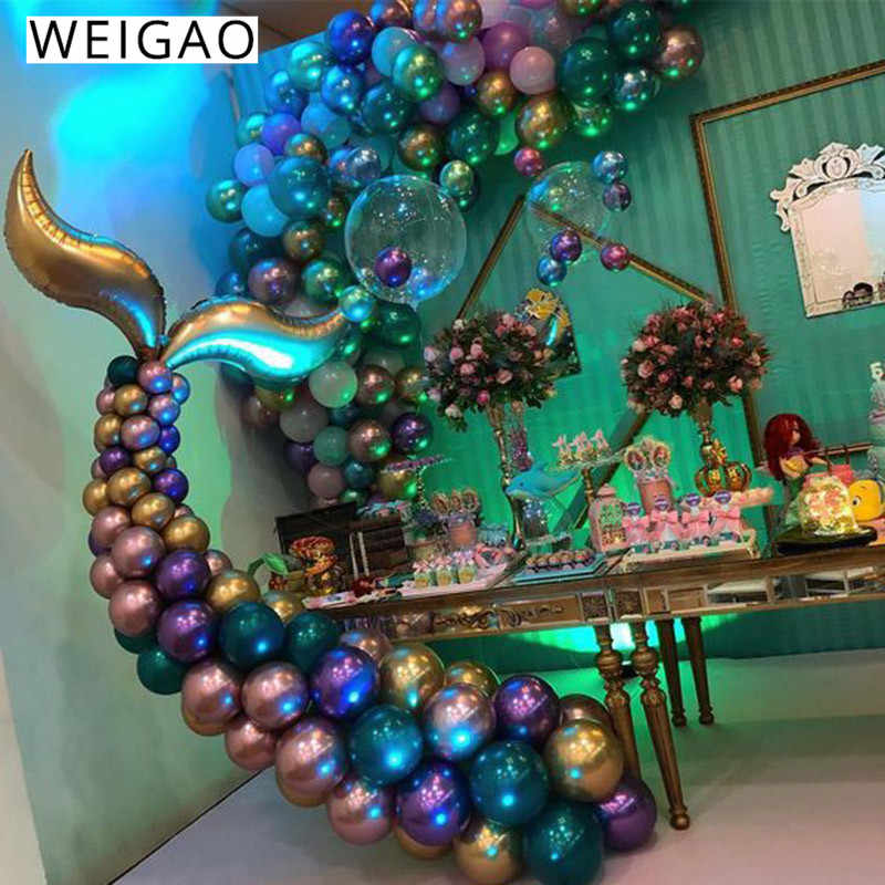 WEIGAO Little Mermaid Party Supplies Mermaid Tail บอลลูน Arch ชุดตกแต่ง Mermaid วันเกิด Party Favors Girl Birthday Party
