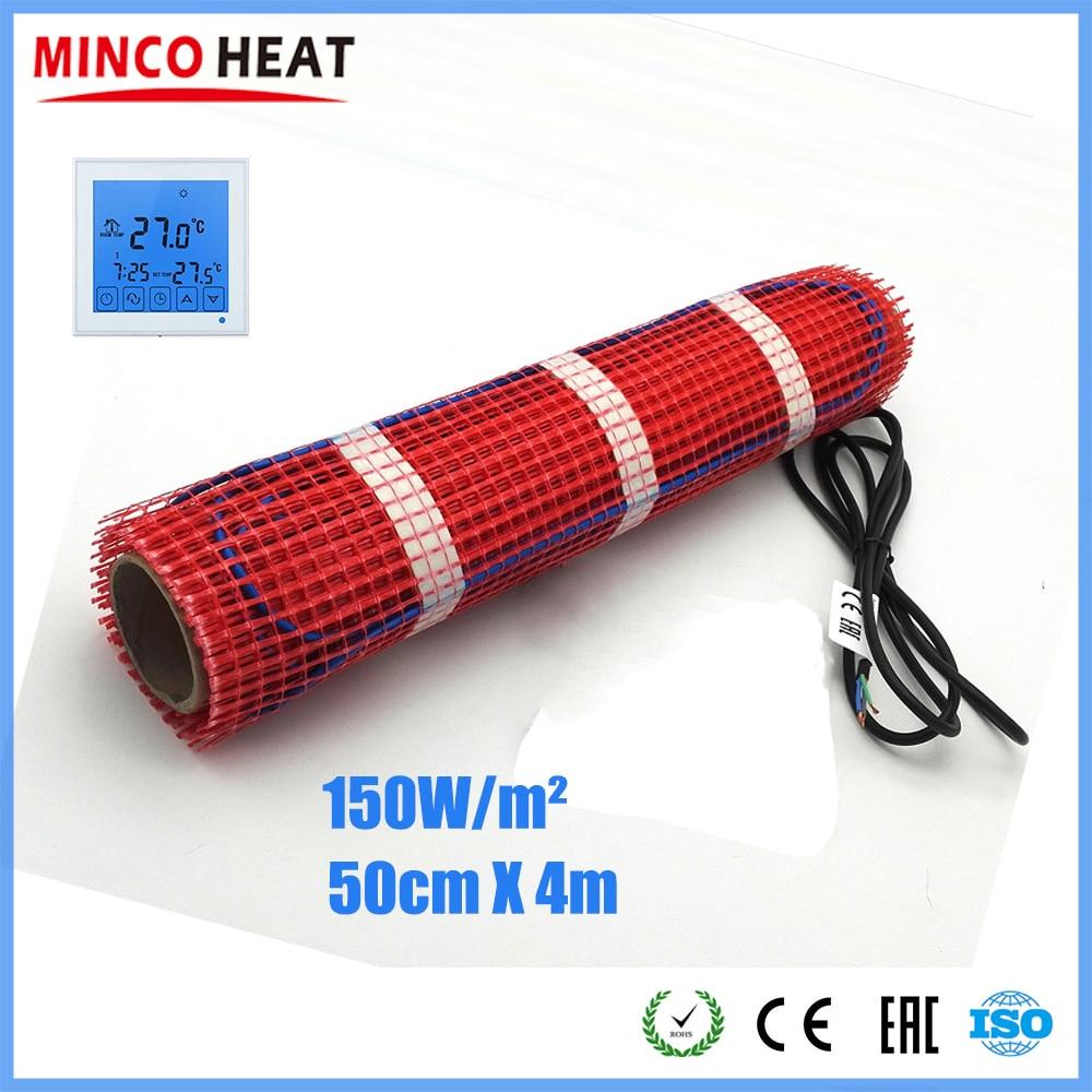 Minco Heat 4m X 50cm 230V 150W/m2 Warm Mat Under Floor Heating Fluoropolymer Insulated 20 Years Warranty
