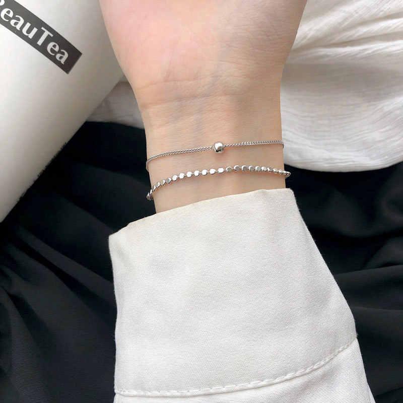 Silvology 925 Sterling Silver Double Layer Flat Round Beads Bracelets for Women Rose Gold Elegant Bracelets 925 Festival Jewelry
