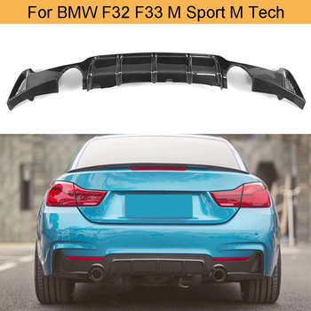 Carbon Fiber 4 Series Car Rear Bumper Diffuser Lip Spoiler for BMW F32 F33 M Sport M Tech Only 14-17 435i Cabriolet Black FRP image
