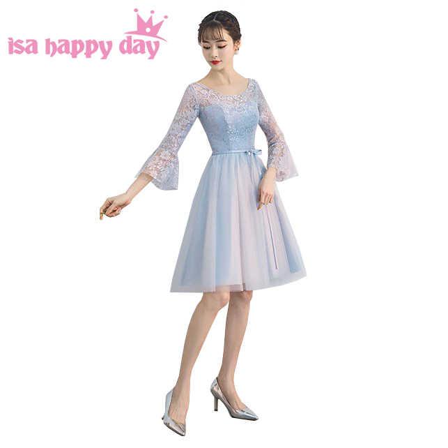 חדש 2019 אופנה קצר אפור מצויד יפה טול באורך הברך לנשף שמלת אירוע מיוחד שמלות עם שרוולי תחת 100 W4315