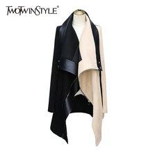 Tweed-Coat Long-Sleeve Casual Fashion Women Irregular Patchwork TWOTWINSTYLE for Lapel