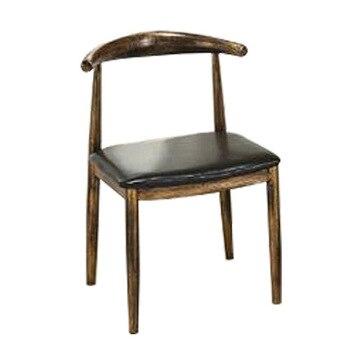 Imitation solid wood iron croissant chair Burger shop Milk tea shop Dessert shop Nordic modern minimalist fast dining table and