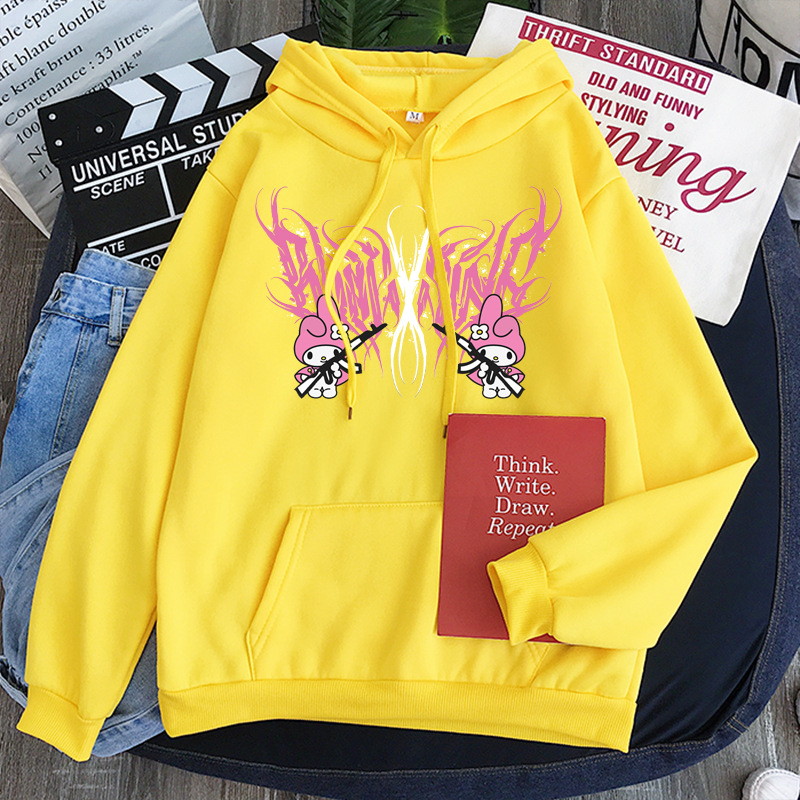 New mymelody dark women's hooded long-sleeved trendy gothic style plus cashmere winter Harajuku style hooded sweatshirt 16