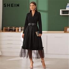 SHEIN Black Notch Collar Without Belt Mesh Overlay Wrap Dress Women Autumn A Line Long Sleeve High Waist Glamorous Long Dresses