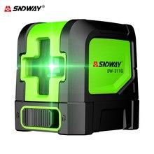 Sndway niveau laser croisé à nivellement automatique, instrument de niveau laser vert/rouge à 2 lignes, dispositif de niveau laser horizontal et vertical