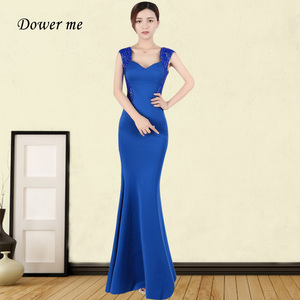 Evening Dresses Long GDX364 Square Collar Sleeveless Mermaid Evening Dresses Cystal Formal Dresses Royal Blue Robe De Soiree