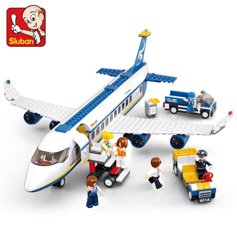 Sluban город серии аэропорта авиации современный автобуса самолета техническая модель DIY строительные блоки, игрушки для детей