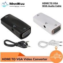 Compatible con HDMI a VGA adaptador de hembra a hembra HD 1080P HD convertidor de HDMI a VGA para PC portátil caja de TV pantalla de ordenador para proyector