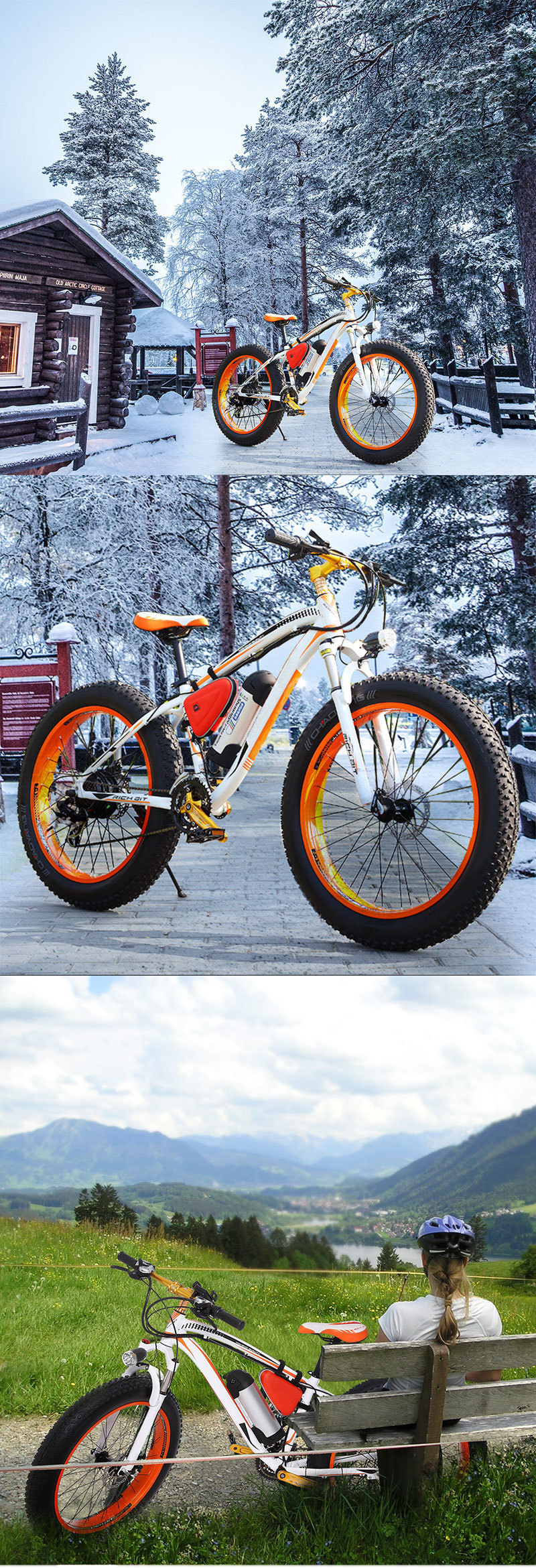 EcoRider E6-5 E6-5 48v 26inch 2 wheel Electric bicycle Big Fat Tire Snow E bike Off Road Bicycle ( Sample Free Postage) 6