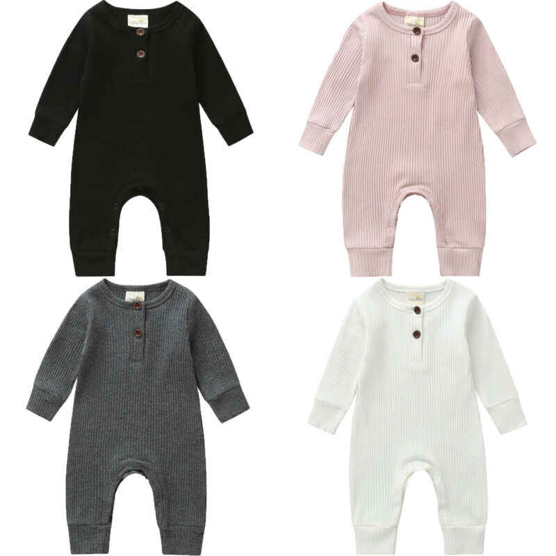 Winter Autumn Newborn Baby Rompers Clothes Infant Boys Girls Solid Casual Long Sleeve Jumpsuit Little Baby Stripe Outfits