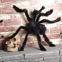 1PCS Grotere Zwarte Pluche Halloween Spider Scary Props voor Party Bar KTV Halloween Decoratie Speelgoed Rekwisieten(China)