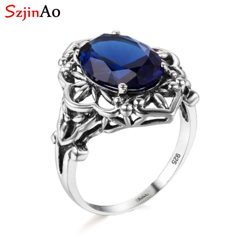 Szjinao Sapphire Rings Oval Flower Elegant Victorian Dark Blue Gemstone Ring 925 Sterling Silve Carve Kate Fine Jewelry Wedding