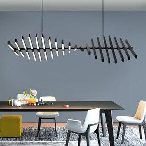 Image 3 - أسود/أبيض قلادة LED ضوء لغرفة المعيشة الطعام المنزل ديكو هيكل السمكة مصباح الحديثة الإبداعية الألومنيوم معلقة مصابيح AC90V   260 فولت