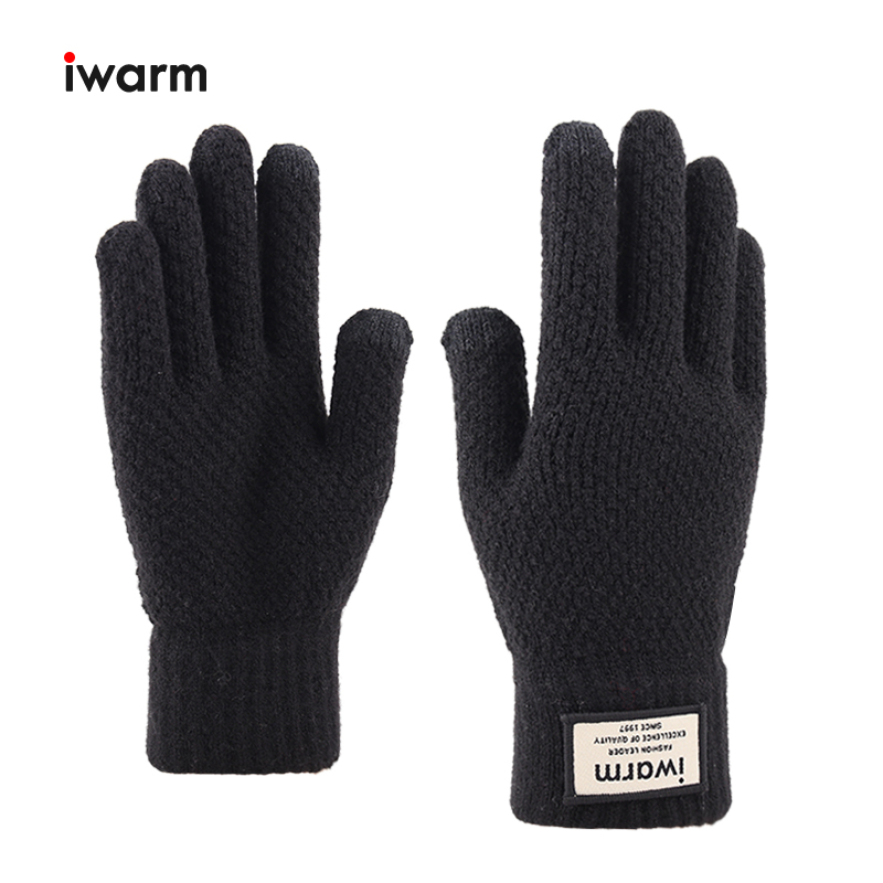 Iwarm Winter Gloves Men's Warm Knitted Gloves Thick Mittens Autumn Winter Touch Screen Gloves