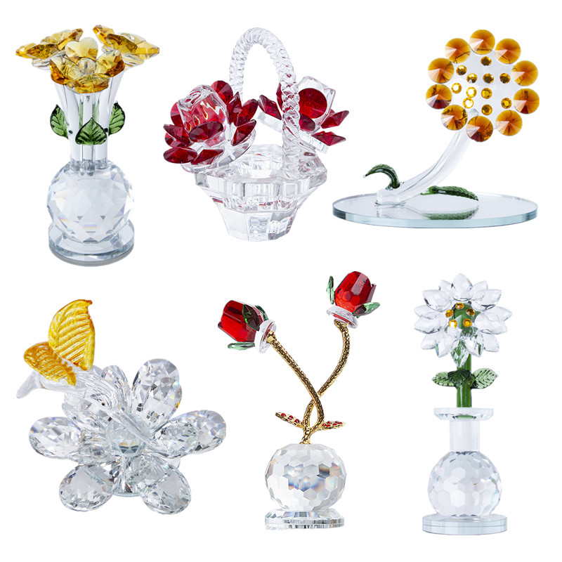 H&D 6 Styles Elegant Crystal Dreams Flowers Figurine Collectible Statue Best Gift For Christmas Birthday Home Wedding Decoration