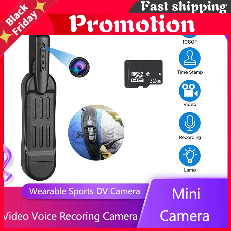 Portable Mini Camera Wearable Pen Video Voice Recorder Dv Camera With 32g Card For Conference Interview Evidence Record Sports