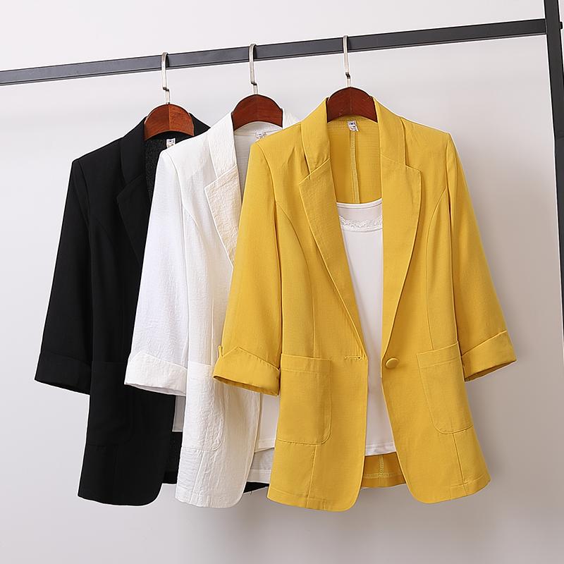 Весна-Осень 2020, хлопковый льняной пиджак большого размера, Женский однотонный Повседневный свободный костюм с рукавом 3/4, модная женская ве...