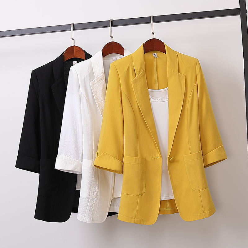 2020 Spring Autumn Cotton Linen Plus Size Blazer Jacket Women Solid 3/4 Sleeve Loose Casual Suit Fashion Women Outerwear Tops