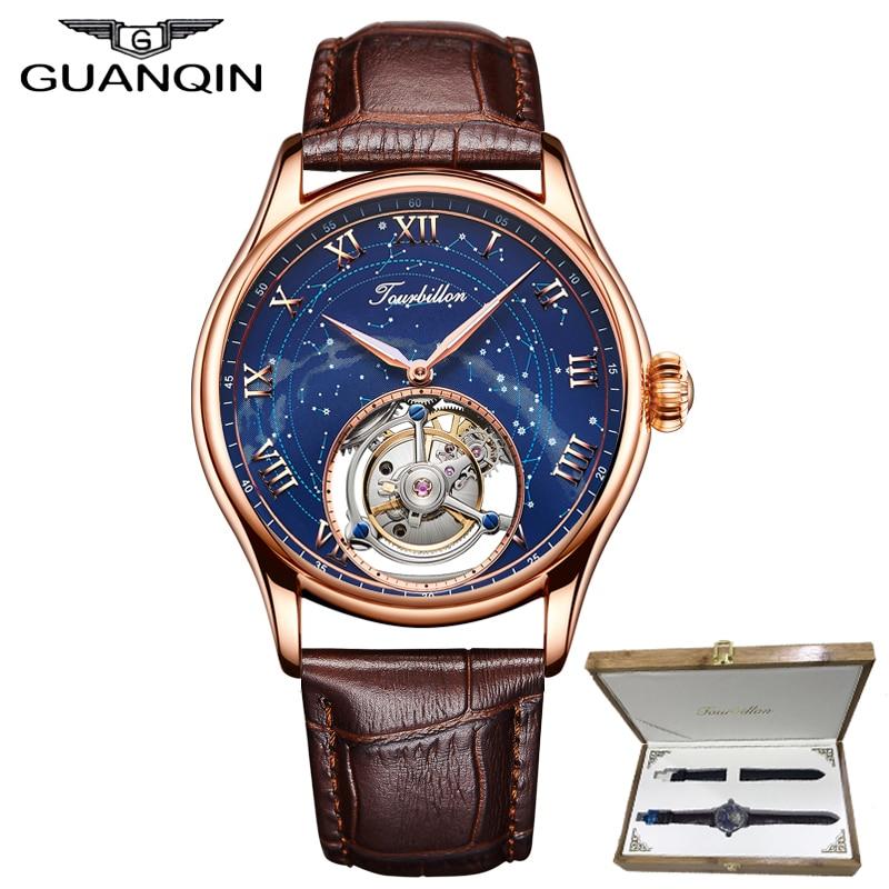 Esqueleto Turbilhão assistir top marca de luxo GUANQIN 100% Real e Original constelação de Safira à prova d' água Relogio masculino