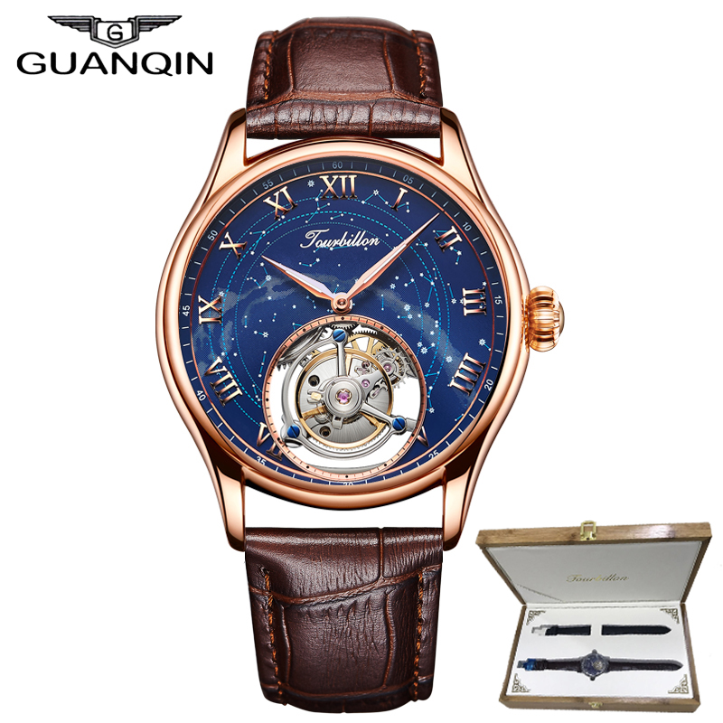 GUANQIN 100% Reale Originale Tourbillon della vigilanza superiore di marca di lusso di Scheletro costellazione Zaffiro impermeabile Relogio Masculino