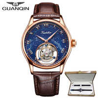 GUANQIN 100% montre Tourbillon Original véritable top marque squelette de luxe constellation saphir étanche Relogio Masculino