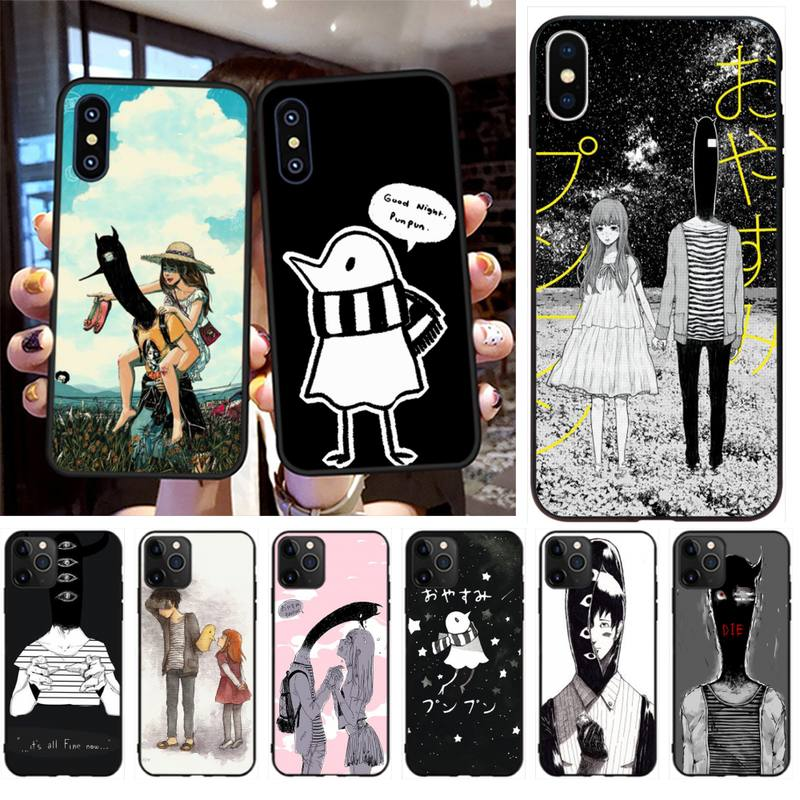 PENGHUWAN Goodnight Punpun Telefon Fall für <font><b>iPhone</b></font> 11 pro XS MAX 8 7 6 6S Plus X 5S SE XR fall image