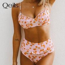 Qeils plissado cereja impressão sexy traje de banho menina verão praia biquíni meninas roupa de banho legal elegante mulher