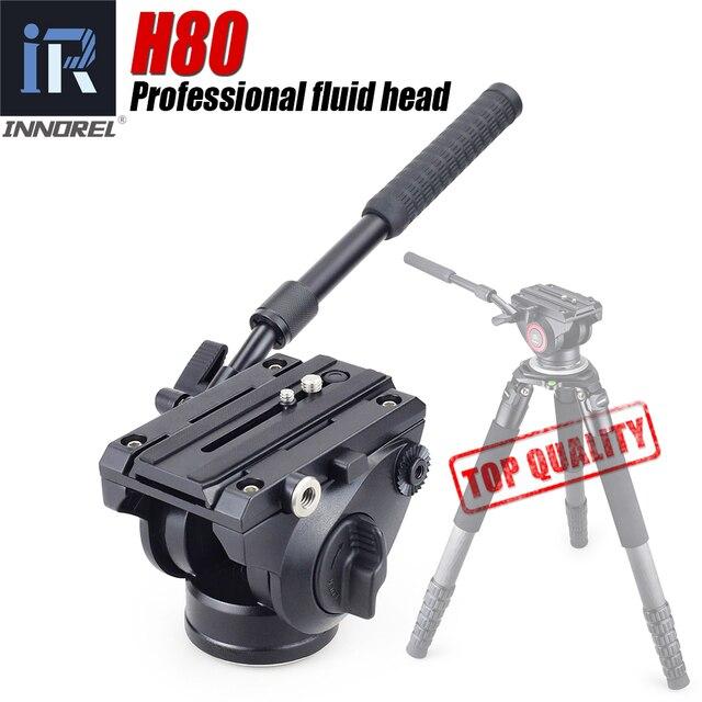 INNOREL H80 הידראולי נוזל חצובה ראש פנורמי וידאו עבור מצלמה חצובה חדרגל מחוון מייצב עם שחרור מהיר צלחת