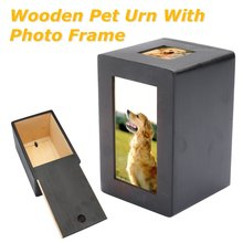 Black Wooden Pet Urn Box Dog Cat Cremation Urn Peaceful Memorial Photo Frame Keep Box For Dog Quiet Home Place