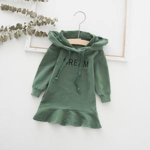 Autumn 1-7T Baby Girl Clothes Lovely Toddler Girl Dress Casual Fashion Long Sleeve Letter Printing Hoodie Kids Hooded Dress #m