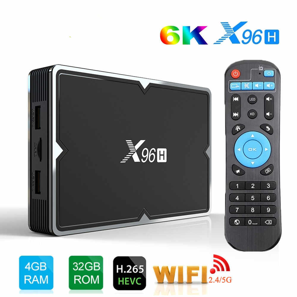 X96H Android 9.0 TV Box Allwinner H603 2.4 & 5G WiFi 4GB RAM 32GB/64GB ROM Set Top Box USB3.0 H.265 HRD 6K Android TV Media Player