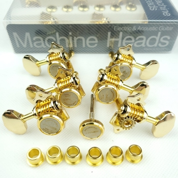 NEW Vintage 1:16 Open Gear Locking Tuning Pegs Gear Butterbean Guitar Machine Heads Tuners Gold image
