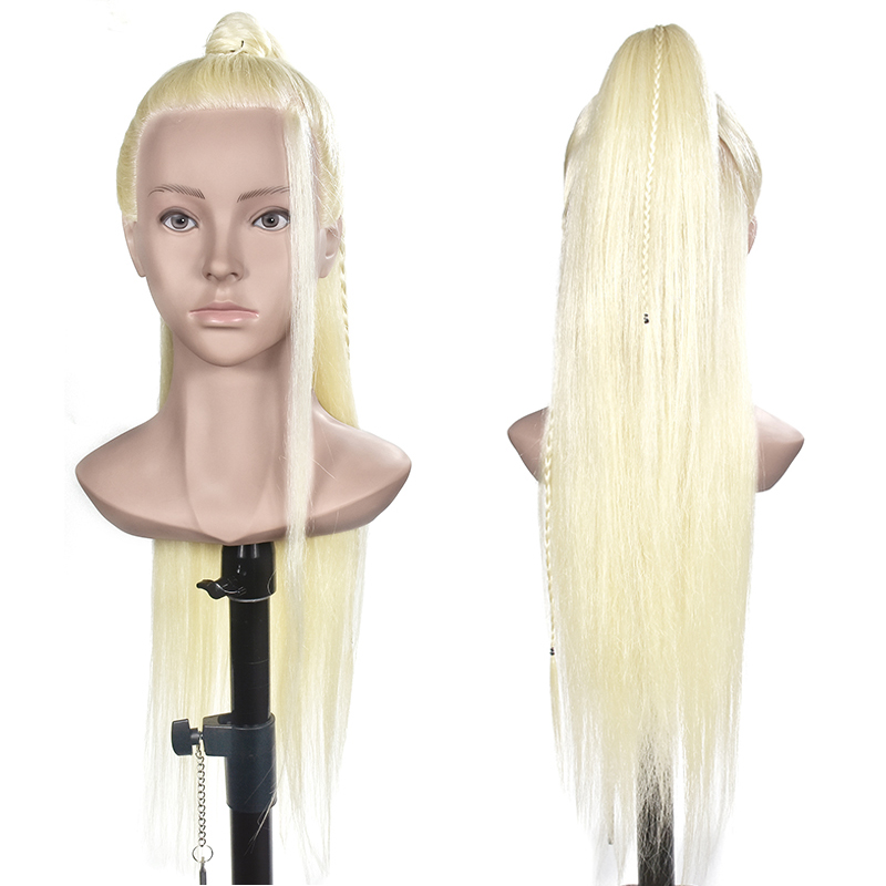 60 % Real Human Hair 70 cm Training Head blonde For Salon Hairdressing Mannequin Dolls professional styling head can be curled