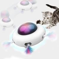 Juguete de plumas automático para gatos, juguete interactivo aleatorio para gatitos, con dirección automática Led